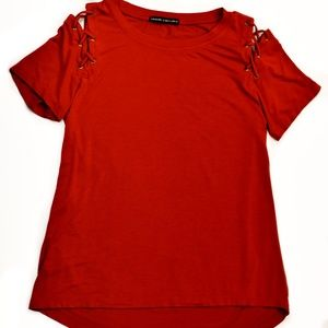 Harlowe & Graham tie detail hi-low t-shirt size S